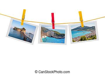 tres, fotos, de, zakynthos, en, clothesline