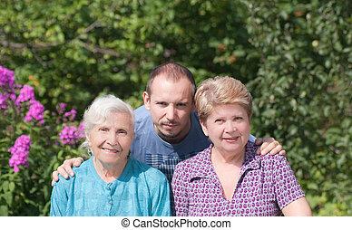 tres generaciones, de, familia