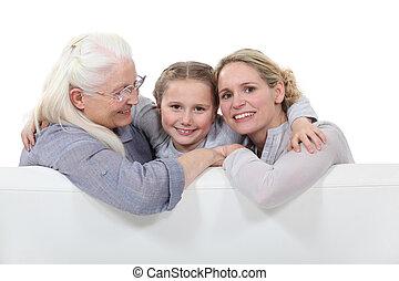 tres generaciones, de, mujeres