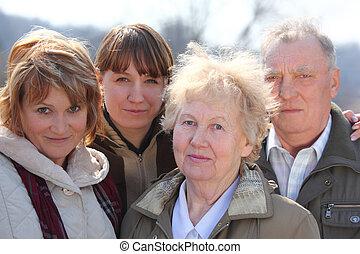 tres generaciones, de, uno, familia