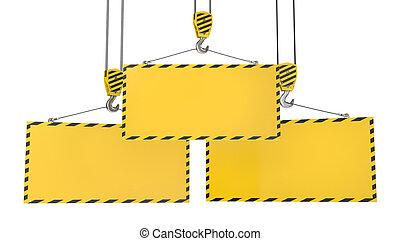 tres, grúa, ganchos, con, blanco, amarillo, placas