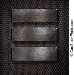 tres, grunge, metal oxidado, placas, encima, fondo...