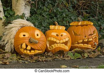 tres, halloween, calabazas