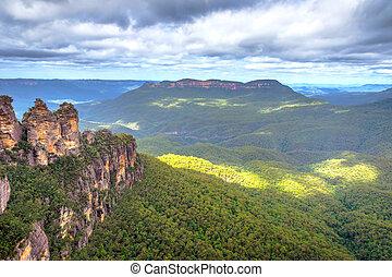 tres hermanas, en, montañas azules, australia
