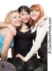 tres, hermoso, mujeres jóvenes