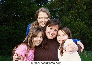 tres, hijas, madre