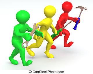 tres, hombre, con, tools., mantenimiento