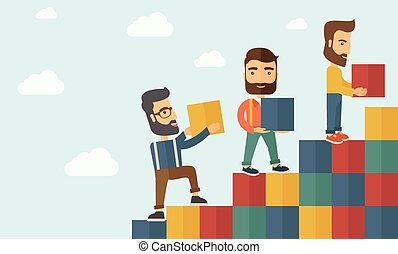 tres hombres, con, bloques