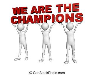 tres hombres, ensamblar, fuerzas, a, levantamiento, el, palabras, nosotros, ser, el, campeones