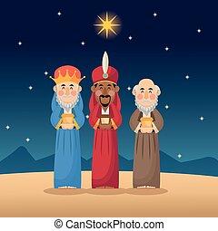 tres hombres sabios, caricatura, con, regalo, diseño