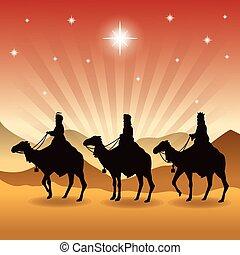 tres hombres sabios, en, camellos, icon., vector, gráfico