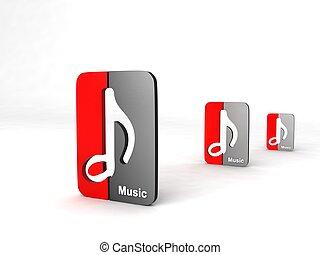 tres, icono, dimensional, notas musicales