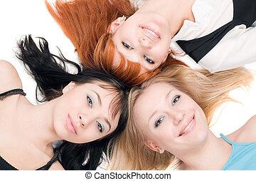 tres, joven, alegre, mujeres