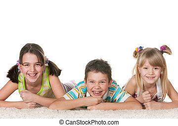 tres, juguetón, niños