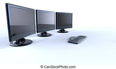 tres, lcd, pantallas, con, teclado, y, ratón, blanco, plano...