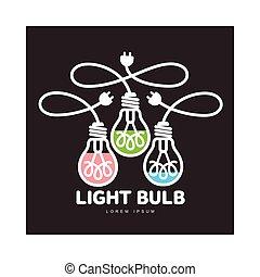 tres, logotipo, cuerdas, bombillas, poderes, luz