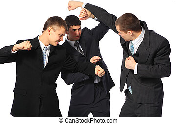 tres, lucha, hombres de negocios