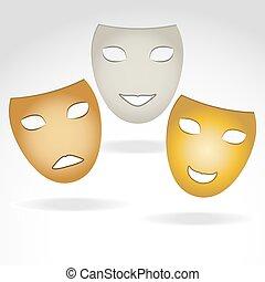 tres, máscaras