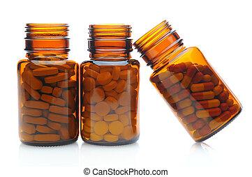 tres, marrón, botellas de la píldora