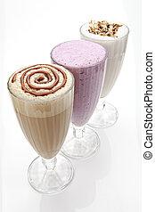 tres,  milkshakes, anteojos