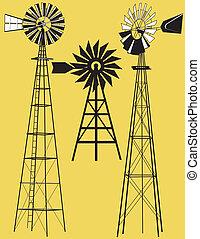 tres, molinos de viento