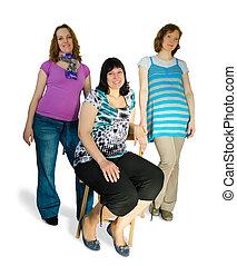 tres, mujeres embarazadas, en, el, estudio