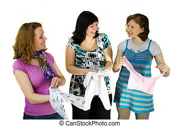 tres, mujeres embarazadas, ser, mirar