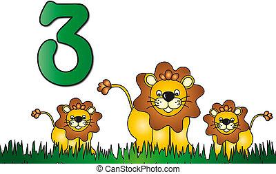 tres, número