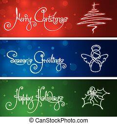 tres, navidad, banderas