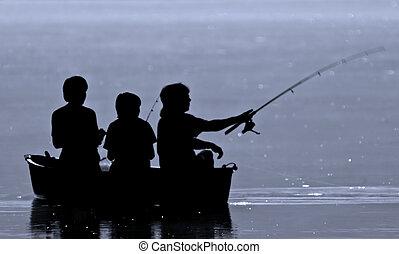 tres, niños, pesca