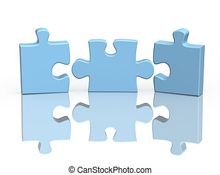 tres, partes, de, un, rompecabezas