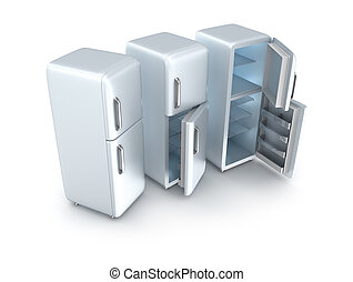 tres, refrigeradores, aislado, blanco