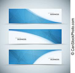 tres, resumen, azul, empresa / negocio, encabezamiento