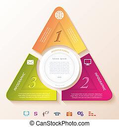 tres, resumen, infographic, segmentos, diseño, círculo