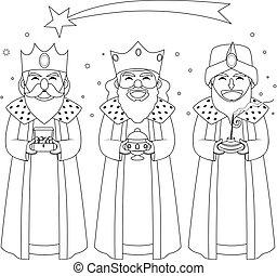 tres, reyes, colorido, arte de línea