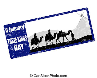 tres, reyes, día, estampilla
