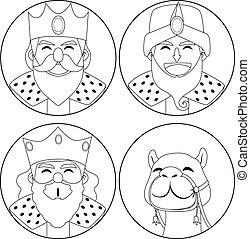 tres, reyes, y, camello, colorido