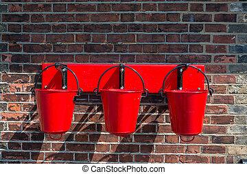 tres, rojo, fuego, cubos, pared subida