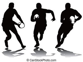 tres, rugby, silueta