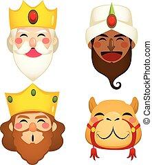 tres, sabio, reyes, caras
