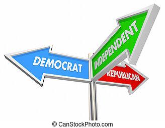tres, señales, ilustración, demócrata, republicano, independiente, 3d