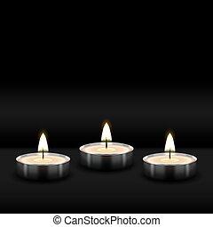 tres, tealight, abrasador, realista, velas, en, fondo negro