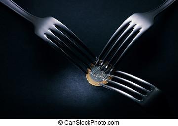tres, tenedores, lucha, encima, una moneda euro, financiero,...