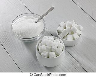 tres, tipos, azúcar