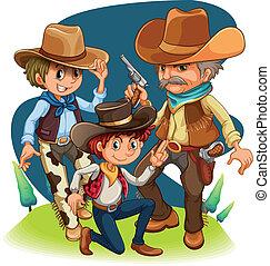 tres, vaqueros, en, diferente, posiciones
