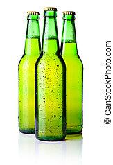 tres, verde, botellas de cerveza, aislado, blanco