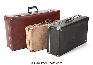 tres, viejo, sucio, polvoriento, suitcase., foco, en,...