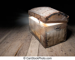 Tresaure chest - Old wooden treasure chest with strong glow...