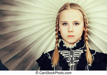 tresses, portrait, girl, mode, jeune