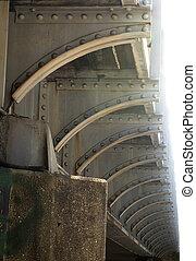 trestle., 弧, サポート, 下側, リベット, 繰り返すこと, 鉄道